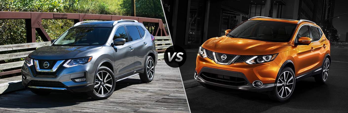 Comparison image of a silver 2018 Nissan Rogue versus an orange 2018 Nissan Rogue Sport