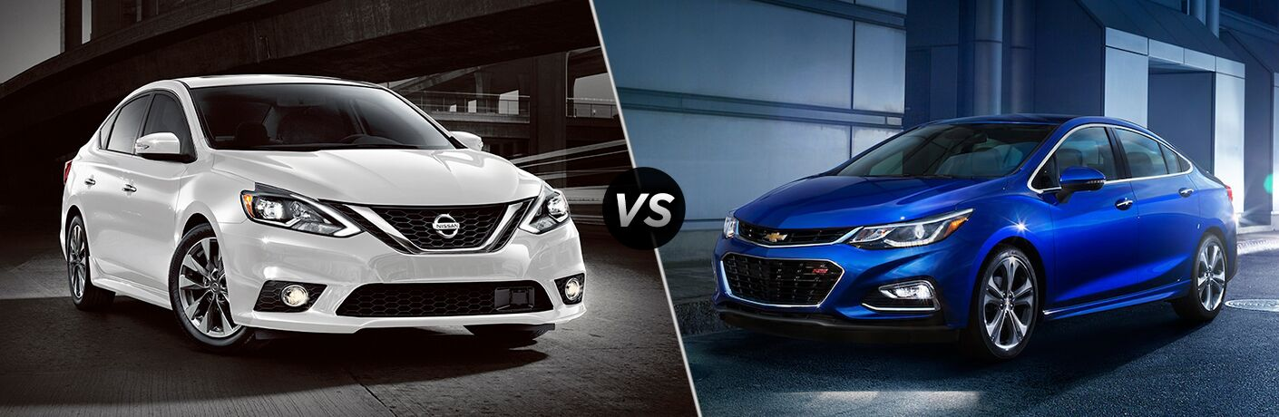 Comparison image of a white 2018 Nissan Sentra and a blue 2018 Chevrolet Cruze
