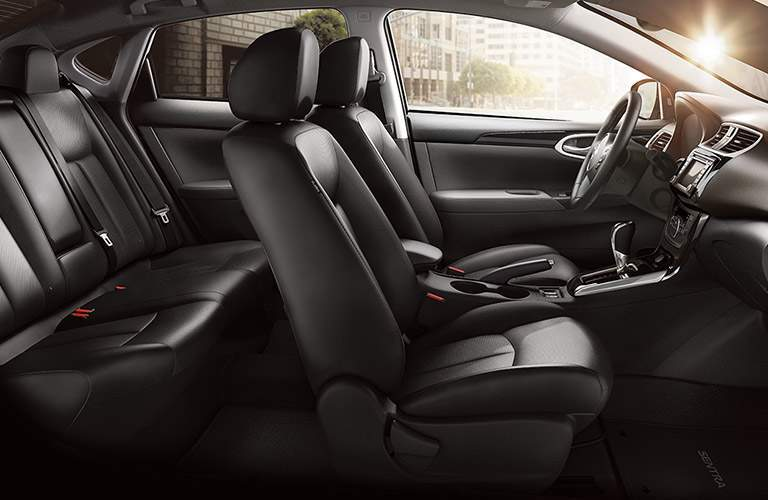 Interior view of the black seating of a 2018 Nissan Sentra