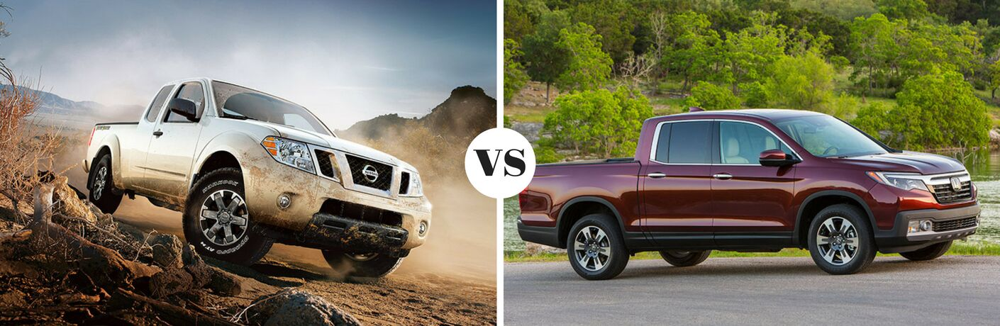View of silver 2018 Nissan Frontier parked on sandy hill versus a red 2018 Honda Ridgeline parked on pavement
