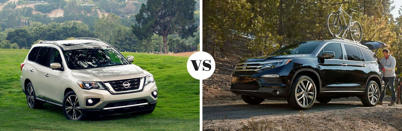 2018 Nissan Pathfinder parked on grass versus 2018 Honda Pilot parked on dirt trail
