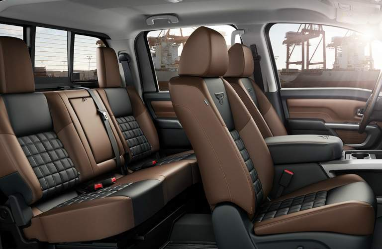 Interior view of a black and brown seating of a 2018 Nissan TITAN