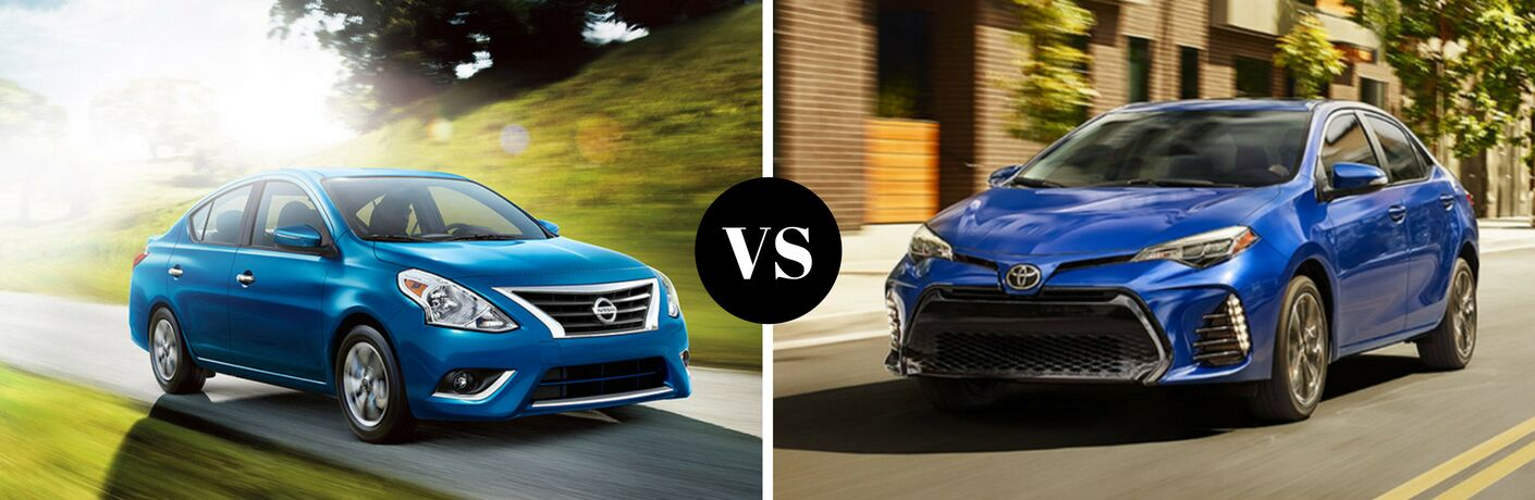 Teal 2018 Nissan Versa and Blue Toyota Corolla Comparision Images