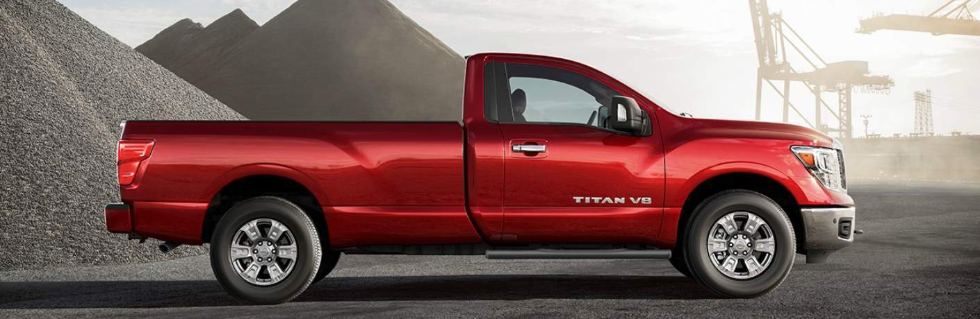 red 2018 Nissan Titan side view