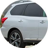 silver 2018 Nissan Pathfinder exterior rear passenger side closeup
