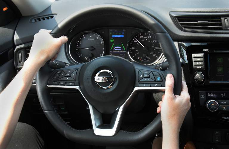 2018 Nissan Rogue interior steering wheel with ProPILOT feature
