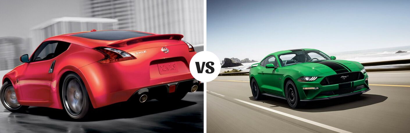 Comparison image of a red 2019 Nissan 370Z vs a green 2019 Ford Mustang