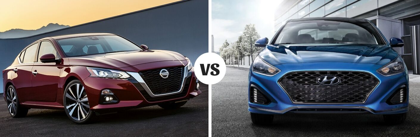 Comparison image of a dark red 2019 Nissan Altima and a blue 2019 Hyundai Sonata