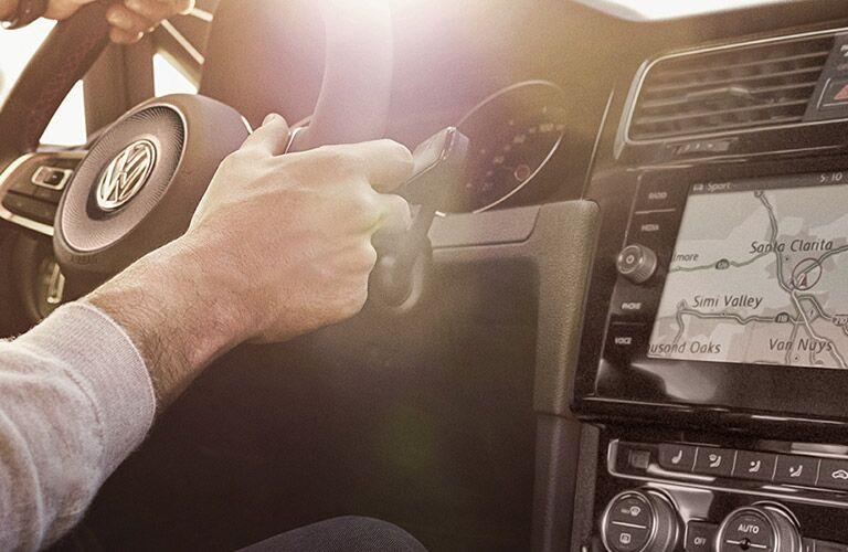 Steering wheel and infotainment center in 2019 Volkswagen Golf GTI