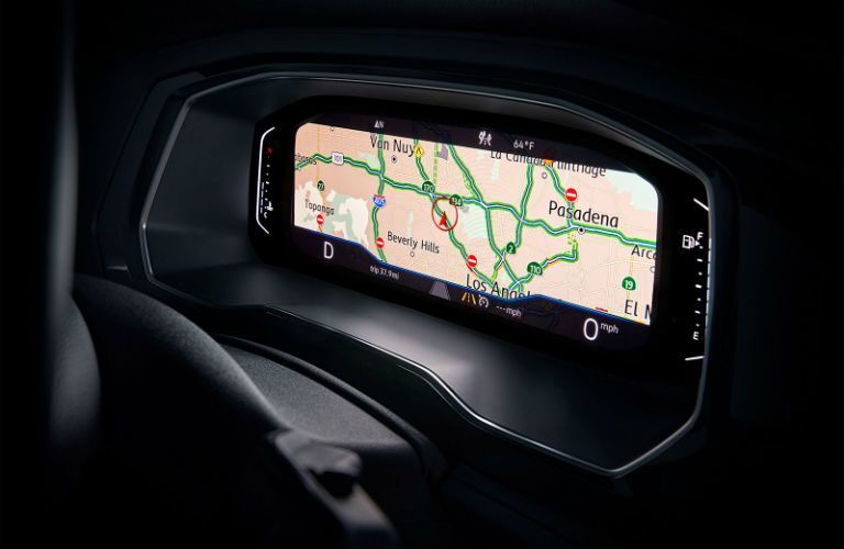 Driver information cluster of the 2019 VW Jetta displaying a road map with driving directions