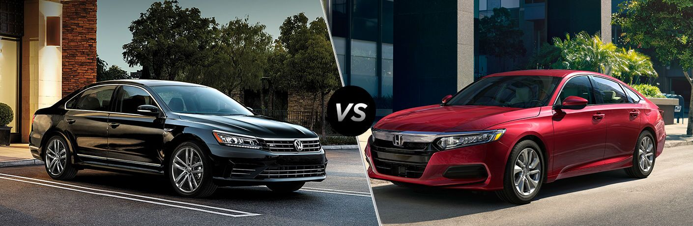 Black 2019 Volkswagen Passat and red 2019 Honda Accord