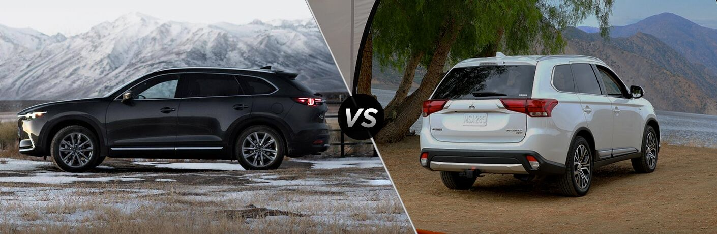 A side-by-side comparison of the 2019 Mazda CX-9 vs. 2018 Mitsubishi Outlander.