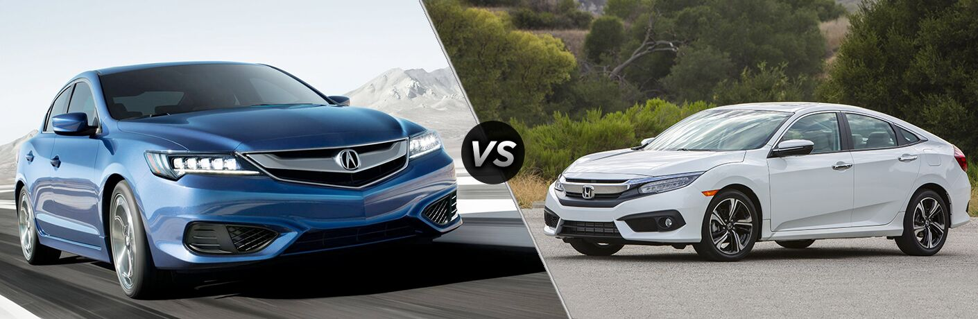2018 Acura ILX vs 2018 Honda Civic front exterior view of both cars