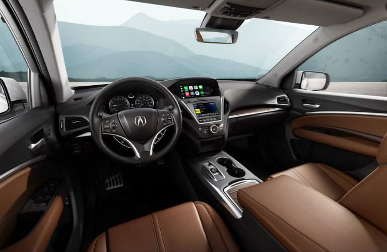 2018 Acura MDX interior steering wheel and front seats