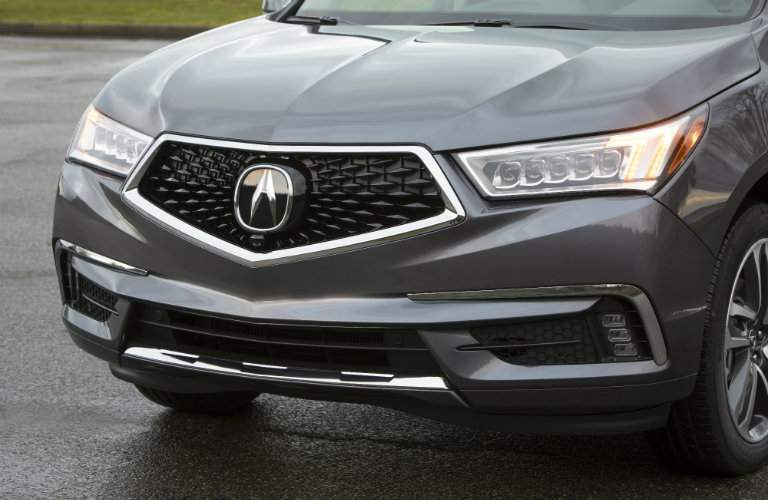 front grille of gray 2018 Acura MDX Sport Hybrid