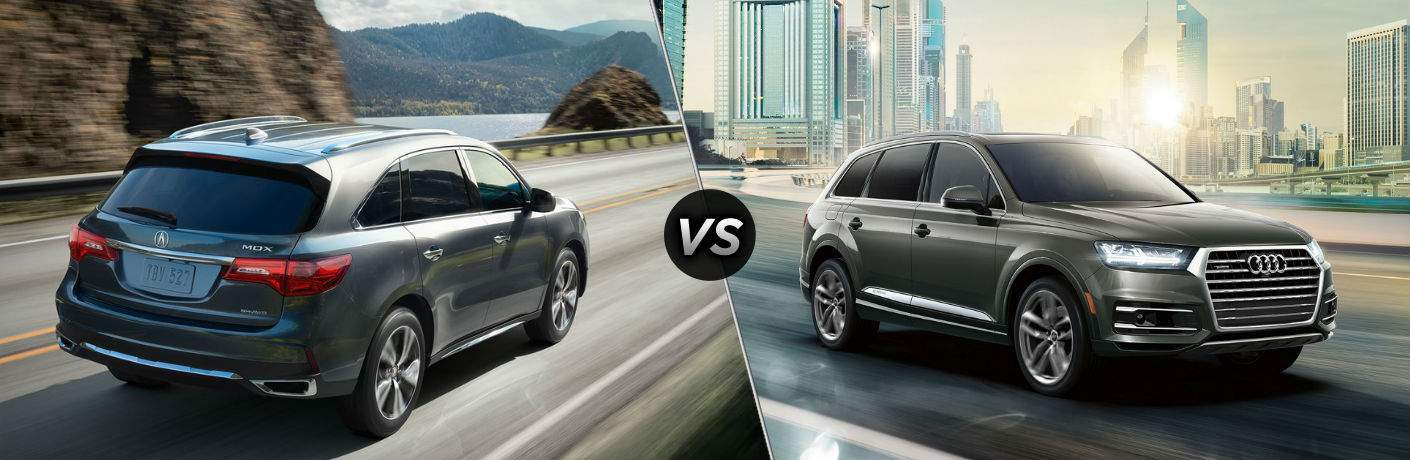 gray 2018 Acura MDX compared against a gray 2018 Audi Q7