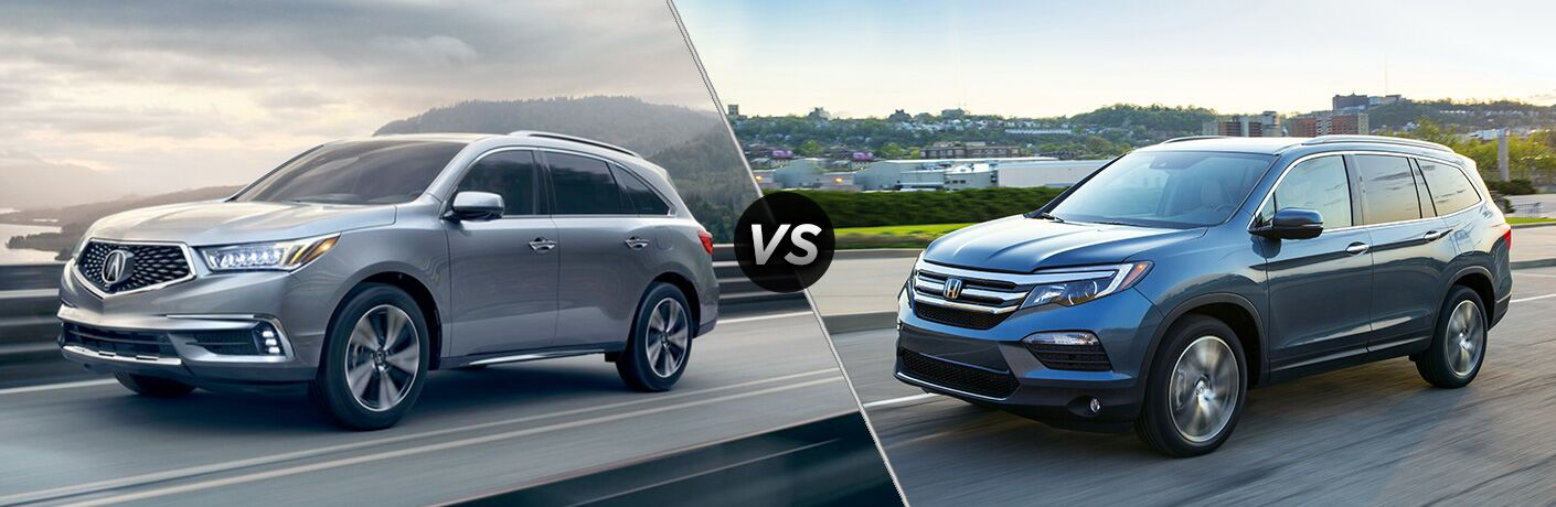 2018 Acura MDX vs 2018 Honda Pilot exterior front view of both crossovers