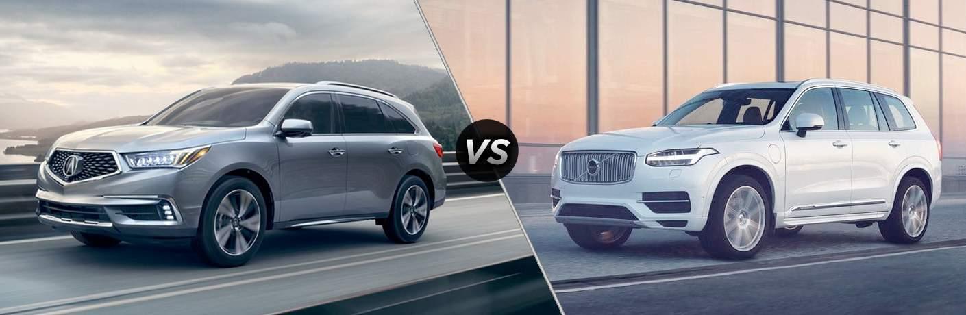 silver 2018 Acura MDX next to white 2018 Volvo XC90