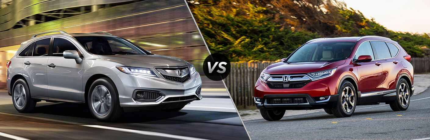 2018 Acura RDX vs 2018 Honda CR-V exterior view of both crossovers
