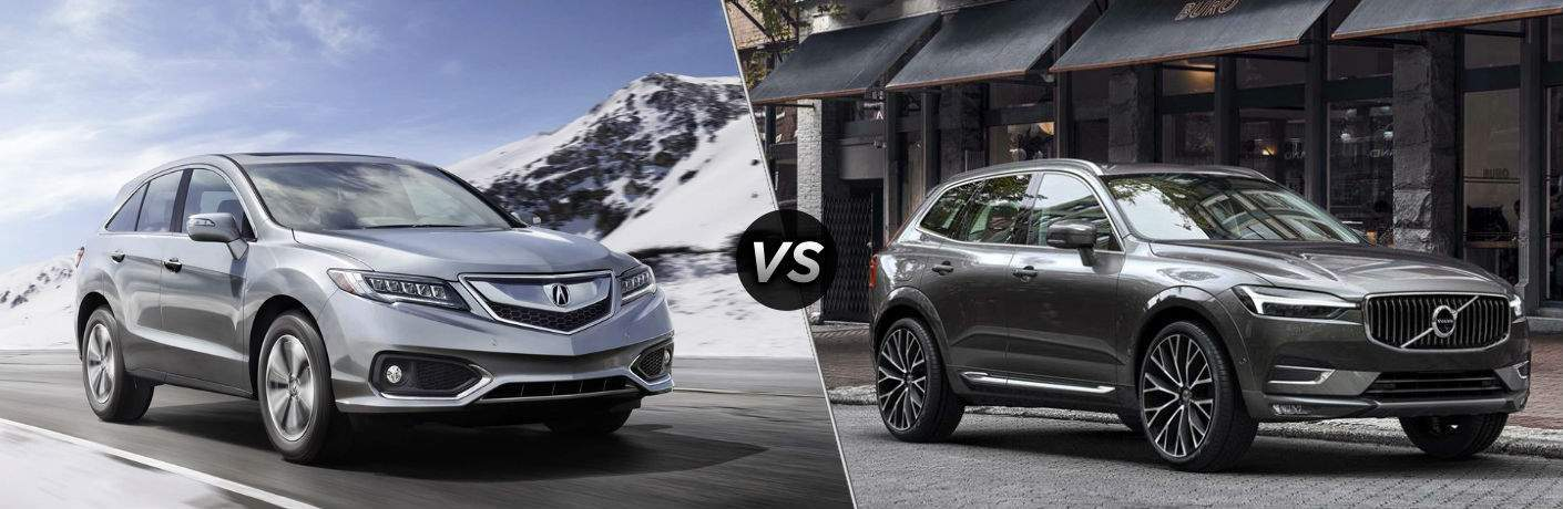 silver 2018 Acura RDX next to gray 2018 Volvo XC60