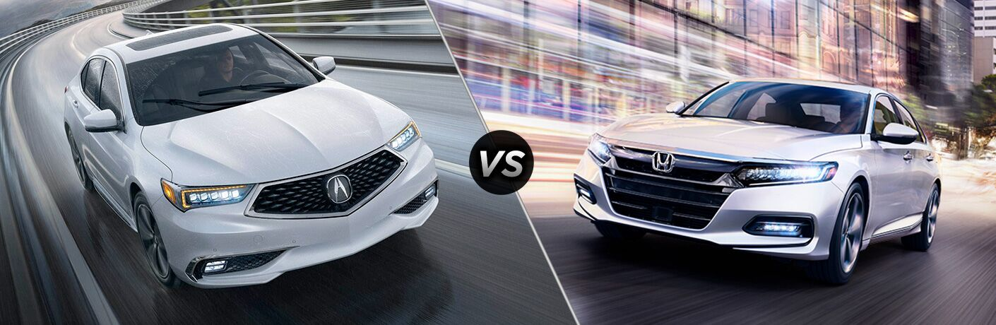 2018 Acura TLX vs 2018 Honda Accord exterior of both cars