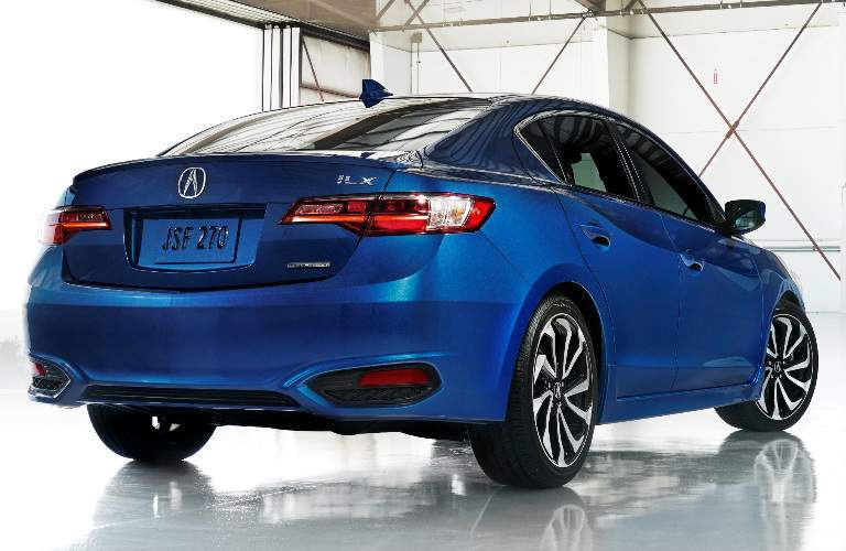 blue 2018 Acura ILX rear, side profile