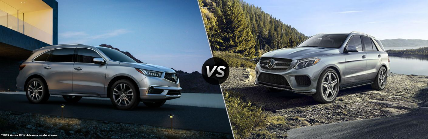 silver 2019 Acura MDX set against silver 2018 Mercedes-Benz GLE