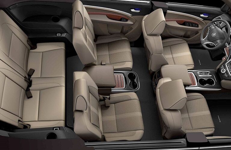 top-down view of tan 3-row seating inside 2019 Acura MDX