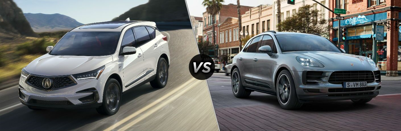 white 2019 Acura RDX set against silver 2018 Porsche Macan