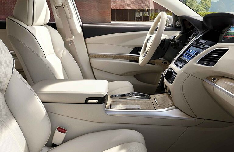 Front two seats and leather steering wheel of 2019 Acura RLX