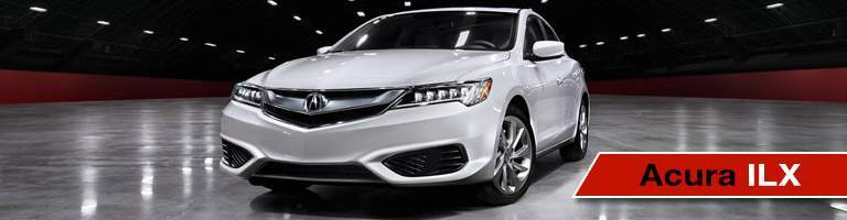 white Acura ILX with red label
