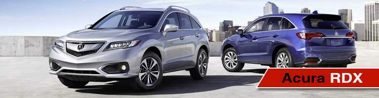 silver and blue Acura RDX models with Acura RDX title