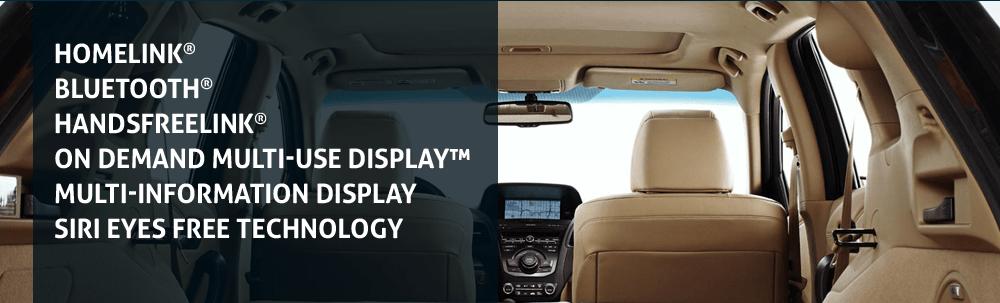 HomeLink® Bluetooth® HandsFreeLink® On Demand Multi-Use Display™ Multi-Information Display Siri Eyes Free technology