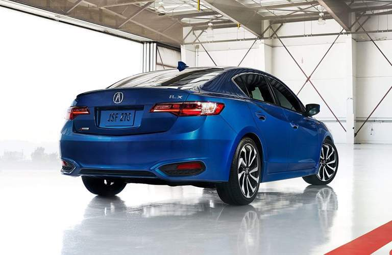 Rear end of blue 2018 Acura ILX