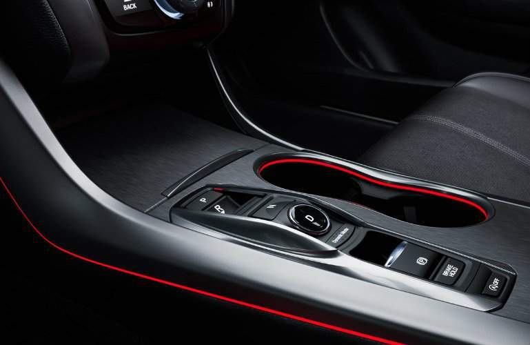 Black and red cupholders in center of 2018 Acura TLX A-Spec interior