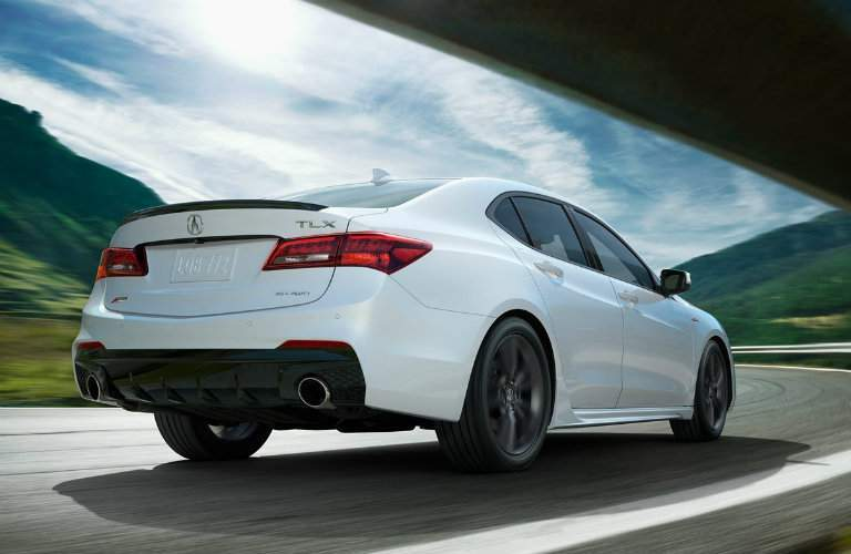 Three-quarter rear shot of white 2018 Acura TLX A-Spec