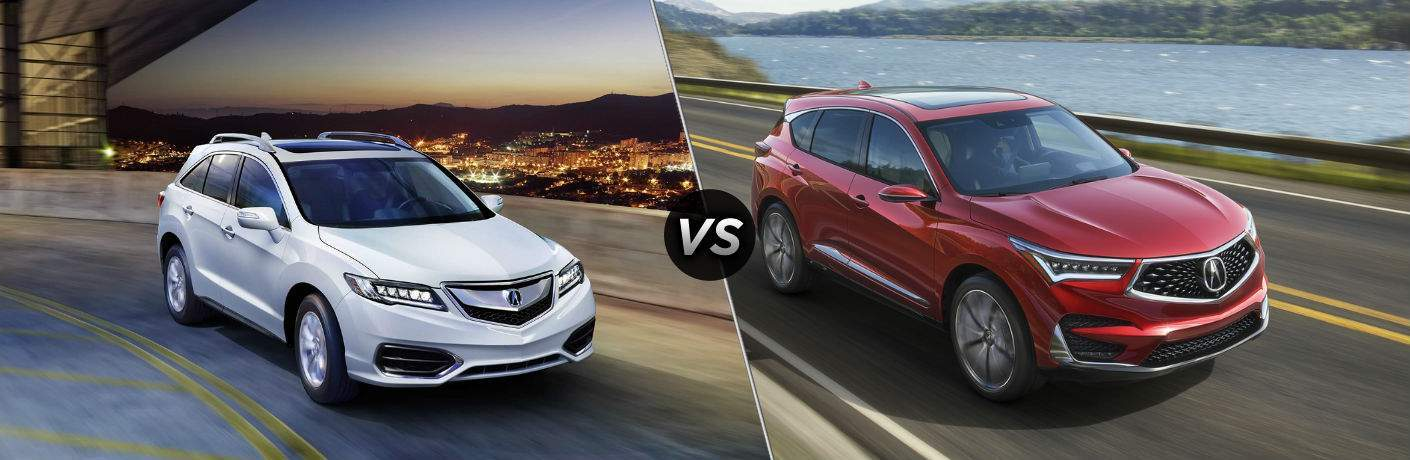 White 2018 Acura RDX on the left with Red 2019 Acura RDX prototype on right