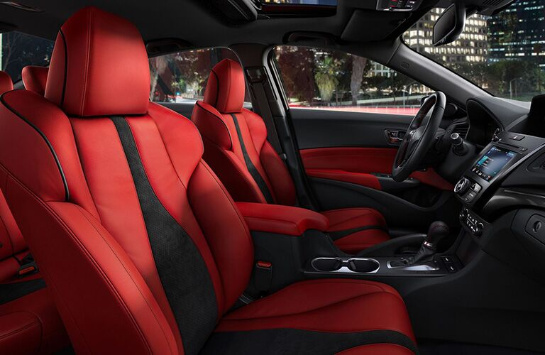 Black and read leather upholstery in the 2019 Acura ILX