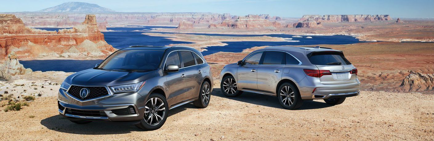 2019 Acura MDX parked on a cliff