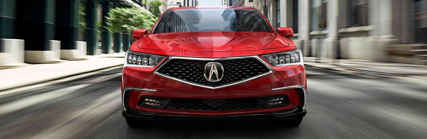 Close up of the front end of a red 2019 Acura RLX