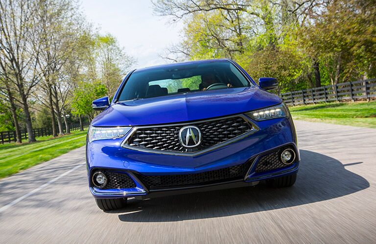 Front end of a blue 2019 Acura TLX