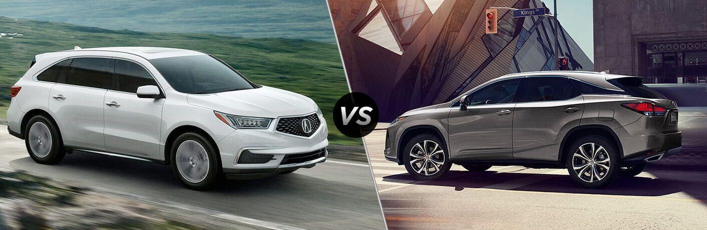 White 2020 Acura MDX on left VS grey 2020 Lexus RX 350 on right