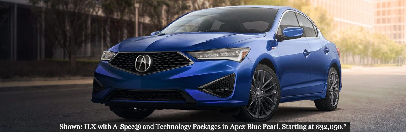 "Front driver angle of a blue 2020 Acura ILX with the text ""Shown: ILX with A-Spec® and Technology Packages in Apex Blue Pearl. Starting at $32,050.*"""