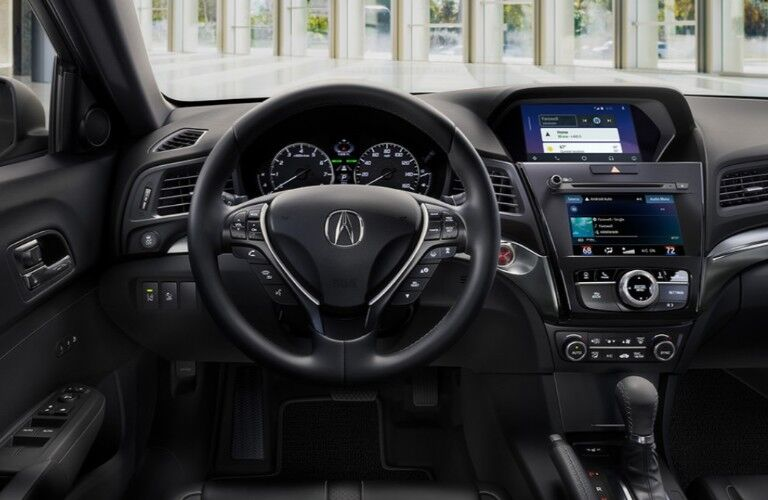 Close up of the steering wheel in the 2020 Acura ILX