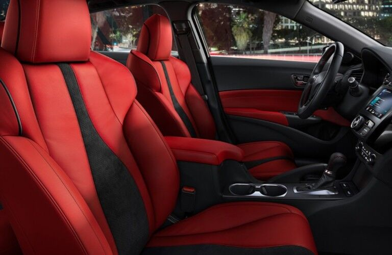 Passenger angle of the red seats inside the 2020 Acura ILX A-Spec Package