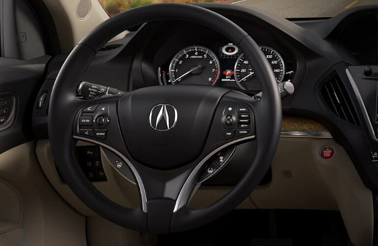 Close up of the steering wheel in the 2020 Acura MDX