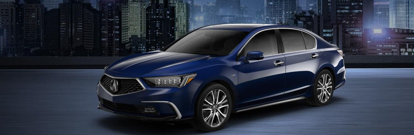 Front driver angle of a blue 2020 Acura RLX