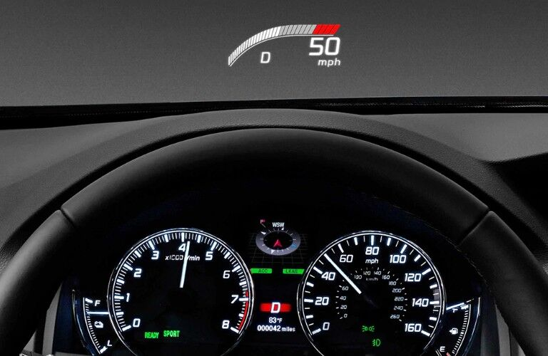 Close up of the dashboard and head up display in the 2020 Acura RLX