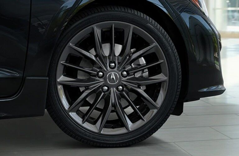 Wheel on a black 2021 Acura ILX A-Spec with Premium Package