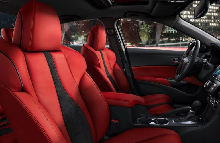 Red seats inside the 2021 Acura ILX A-Spec with Technology Package